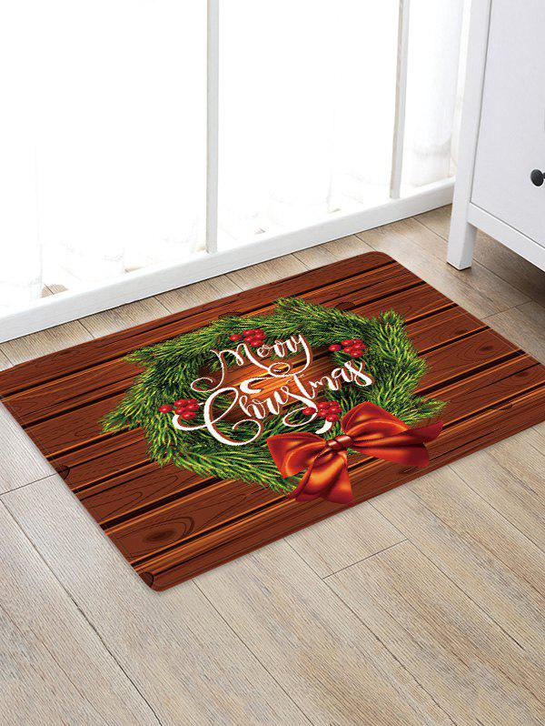 Cheap Christmas Wreath Wood Grain Pattern Water Absorption Area Rug