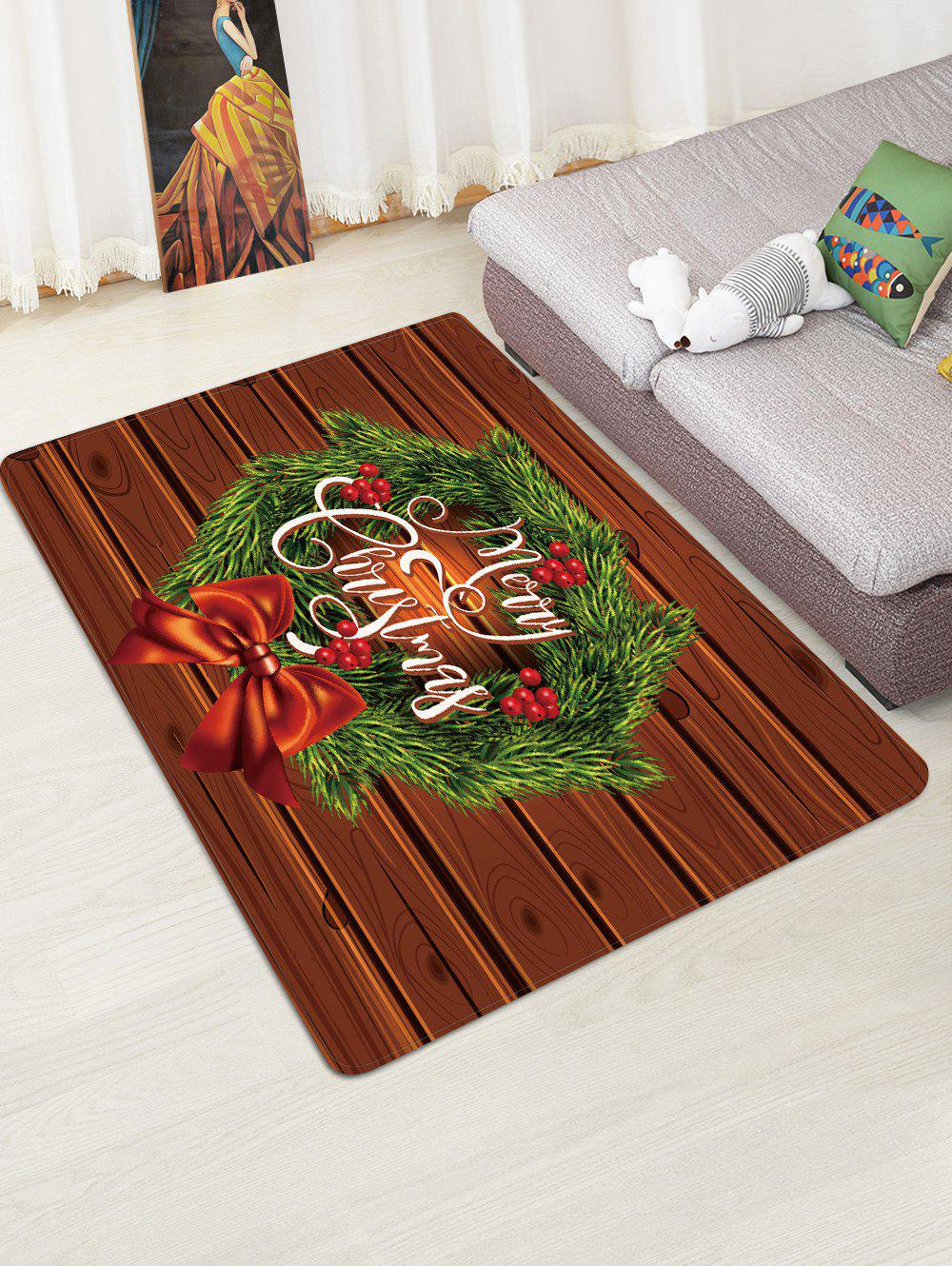 Sale Christmas Wreath Wood Grain Pattern Water Absorption Area Rug