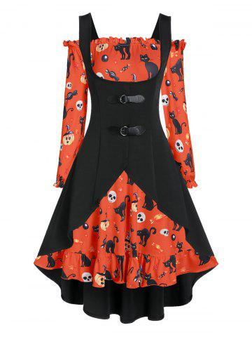 Off The Shoulder Cat Skull Print Halloween Dress with Top