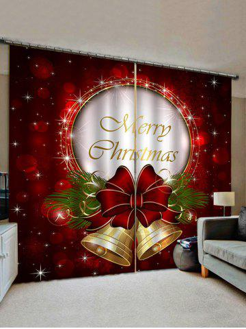 Merry Christmas Bell Print Decorative Window Curtains