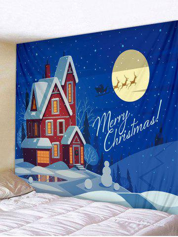 Christmas Snow Scenery Print Wall Art Tapestry - MULTI - W91 X L71 INCH