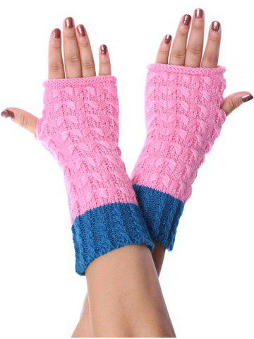 Color-blocking Fingerless Knitted Braid Gloves