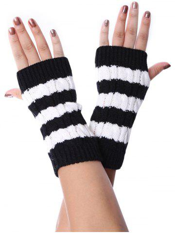Striped Pattern Fingerless Braid Knitted Gloves