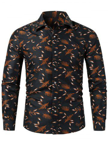 Plant Tiny Leaf Print Button Up Casual Shirt