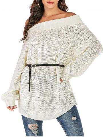 Folded Off The Shoulder Sweater - WHITE - XL