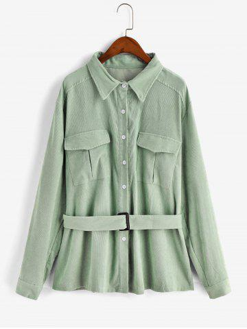 Plus Size Button Up Belted Corduroy Shirt