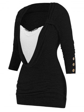 Plus Size Button Embellished Lace Panel Heathered Faux Twinset T-shirt