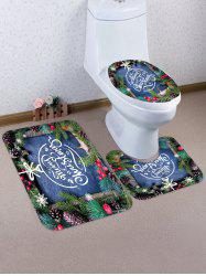 Christmas Tree Branch Letters Pattern 3 Pcs Toilet Mat Set -