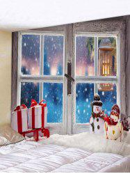 Christmas Window Snowman Gifts Print Tapestry Wall Hanging Art Decoration -