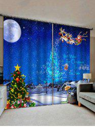Christmas Snow Moon Night Scenery Print Decorative Window Curtains -