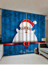 Merry Christmas Santa Print Decorative Window Curtains -