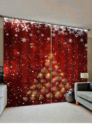 Christmas Snowflake Tree Pattern Window Curtains -