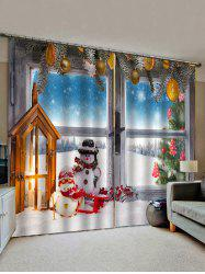 2 Panels Christmas Window Snowman Couple Print Window Curtains -