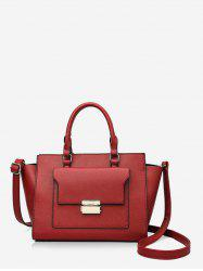 Solid Color PU Leather Work Tote Bag -