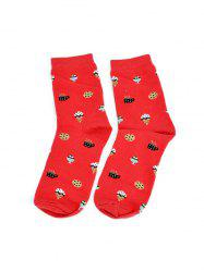 Fruit Food Printed Quarter Length Socks -