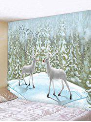 Elk Snow Pine Print Christmas Decor Tapestry -