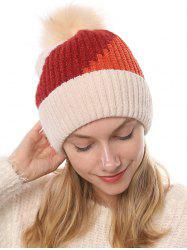 Colorblock Chenille Fleece Knitted Bobble Hat -