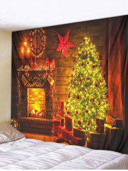 Christmas Tree Fireplace Pattern Print Hanging Tapestry -