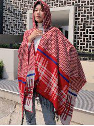 Zigzag Plaid Fringe Hooded Open Front Poncho Cape -