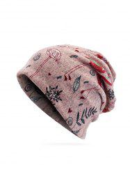 Knitted Dual Use Flamingo Print Scarf Hat -