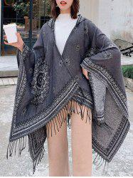Bohemian Flower Fringe Hooded Open Front Cape -