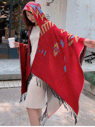 Tribal Style Geometric Fringe Hooded Open Front Cape -