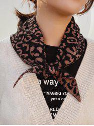 Leopard Knitted Triangle Double-sided Scarf -