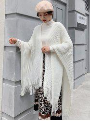 Grid Fringe Knit Open Front Poncho Cape -
