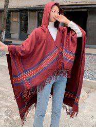 Travel Plaid Fringed Hooded Open Front Cape -