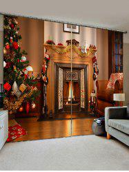 Christmas Tree Fireplace Pattern Window Curtains -