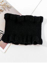 Solid Ruffle Edge Knitted Round Neck Scarf -