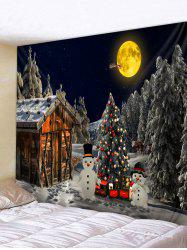 Christmas Tree Snowman Huts 3D Print Tapestry -