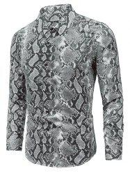 Snake Skin Print Long Sleeve Button Shirt -