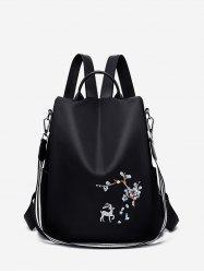 Floral Deer Embroidery Top Handle Retro Backpack -
