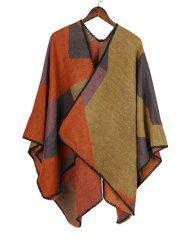 Patchwork Geometric Open Front Poncho Cape -