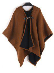 Solid Faux Cashmere Buckle Shawl -