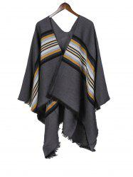 Striped Pattern Fringe Faux Cashmere Split Shawl -