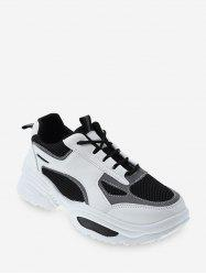 Contrast Trim Breathable Mesh Dad Sneakers -