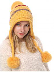 Fuzzy Ball Decorated Knitted Striped Hat -