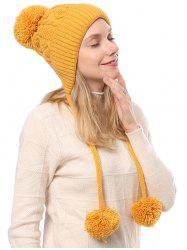 Double Long Fuzzy Ball Winter Knitted Hat -
