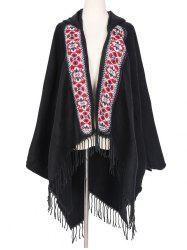 Ethnic Hooded Floral Knitted Fringe Shawl -