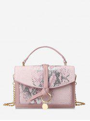 Snakeskin Embossed Sequined Top Handle Crossbody Bag -