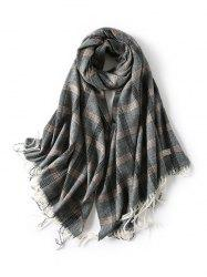 British Style Plaid Herringbone Fringed Scarf -