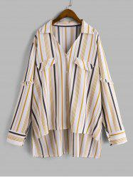 Plus Size High Low Stripe Shirt -
