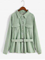 Plus Size Button Up Belted Corduroy Shirt -