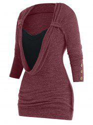 Plus Size Button Embellished Lace Panel Heathered Faux Twinset T-shirt -