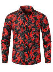 Tropical Feuille Allover Imprimer Slim Fit Button Casual Shirt -