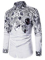 POIS imprimé léopard Slim Fit Shirt Casual -