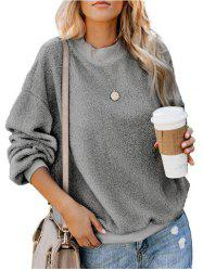 Crew Neck Fluffy Boyfriend Teddy Sweatshirt -