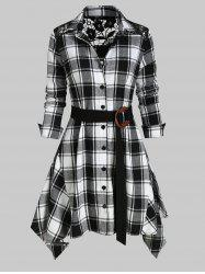 Lace Panel Plaid Belted Asymmetric Shirt -